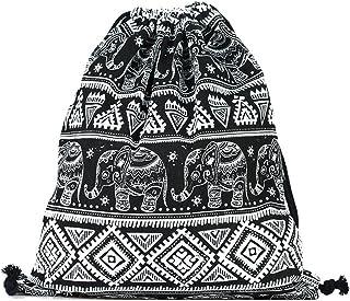 SAMGOO Segeltuch Sporttaschen Gym Sack Turnbeutel Sportbeutel, Geometrische Muster Elefant Beutel Tasche Tüte Rucksack Hipster für Reisen Sport