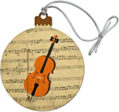 GRAPHICS & MORE Cello Sheet Music Notes Treble Clef Wood Christmas Tree Holiday Ornament