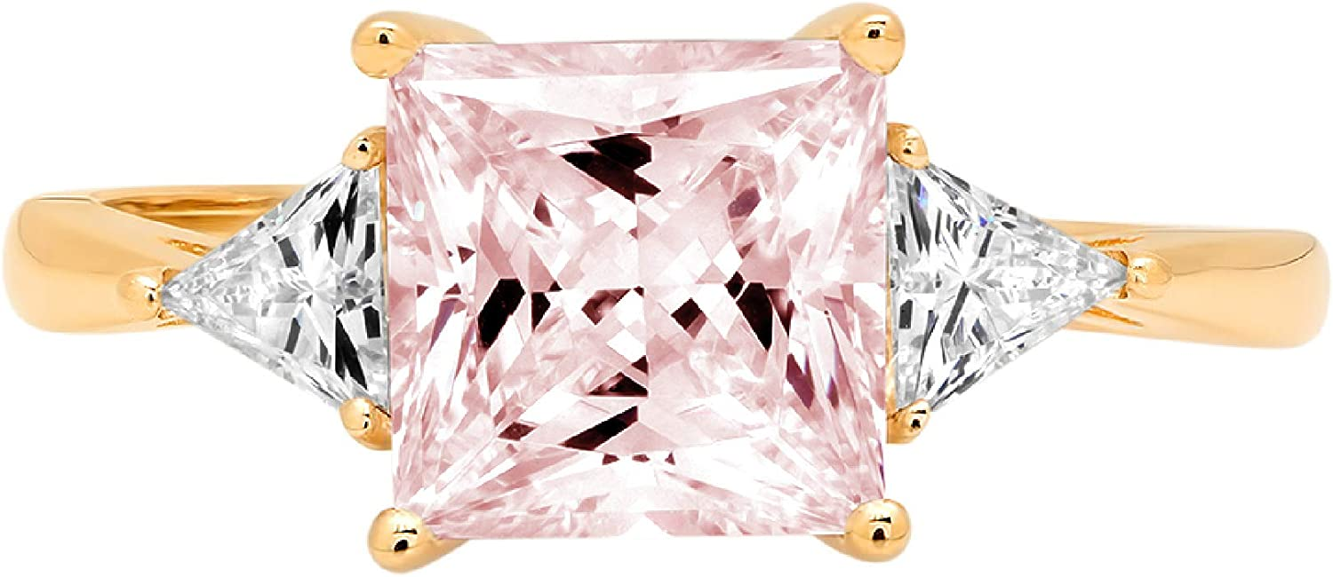 2.34ct Princess Trillion cut 3 stone Solitaire Pink Ideal VVS1 Simulated Diamond CZ Engagement Promise Statement Anniversary Bridal Wedding Ring Solid 14k Yellow Gold