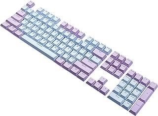 e元素キーボード用PBTキーキャップセット Cherry MXスイッチ互換用キートップ メカニカルキーボード適合 ダブルショットキーキャップ 英語配列104キー(ブルー+パープル)