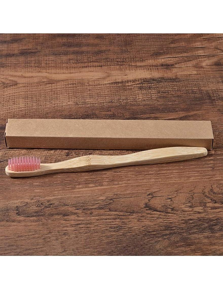 バウンス優しさ壮大な環境の歯ブラシ竹健康歯ブラシ口腔ケア歯用エコミディアムソフト毛ブラシ、ピンク