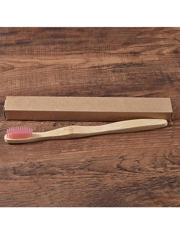環境の歯ブラシ竹健康歯ブラシ口腔ケア歯用エコミディアムソフト毛ブラシ、ピンク