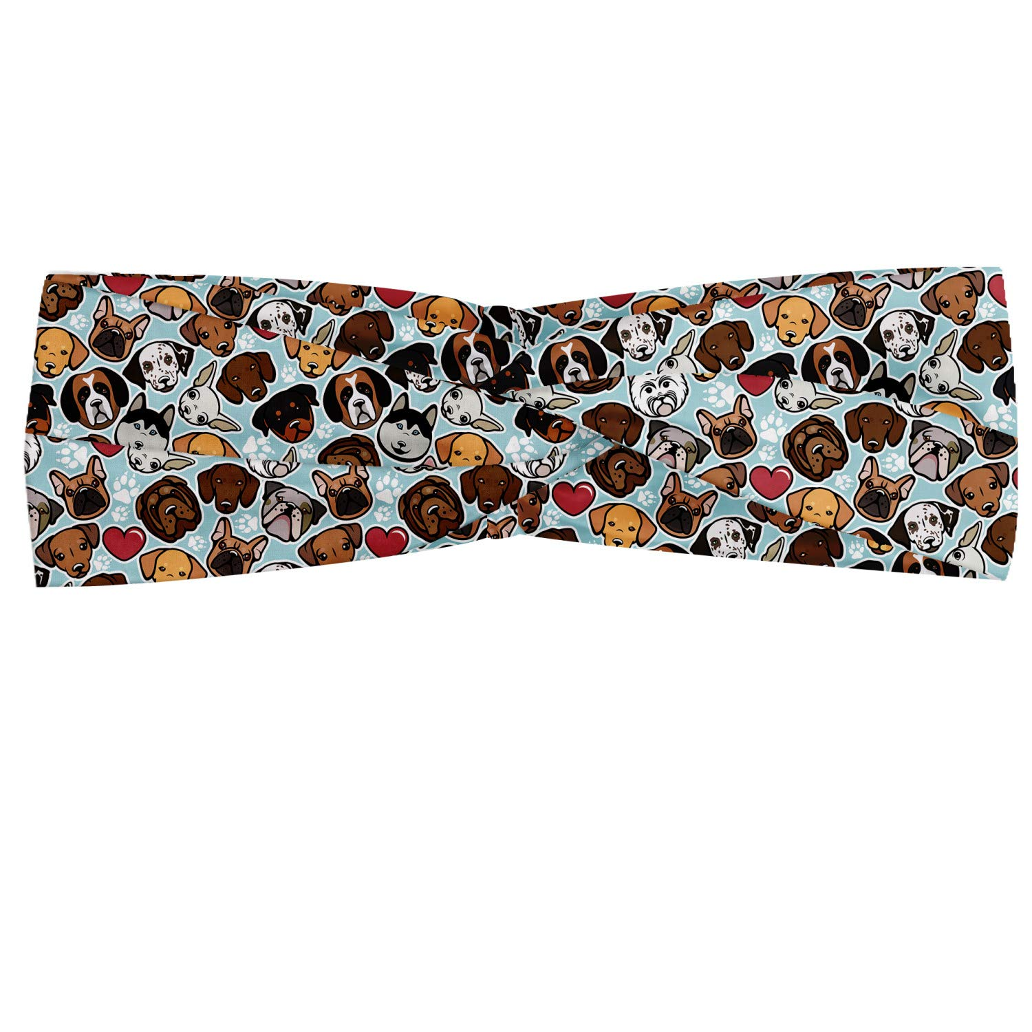 Ambesonne Dog Lover Headband, Canine Breeds Bulldog Chihuahua Siberians and Retriever Love Heart Paw Prints, Elastic and Soft Women's Bandana for Sports and Everyday Use, Multicolor
