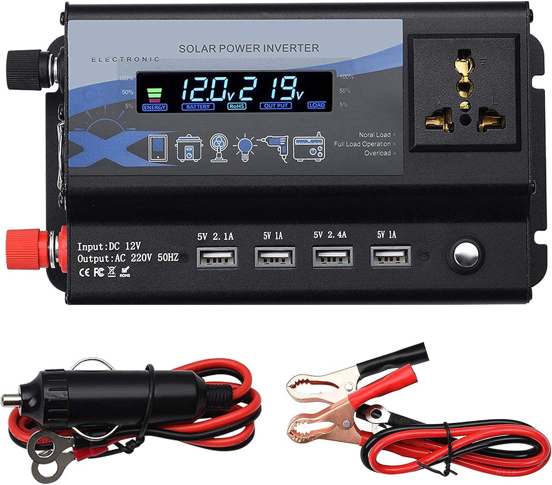 SGSG Inversor de Corriente para Coche 3000W / 4000W / 6000W Inversor de Onda sinusoidal modificada DC 12V / 24V a AC 220V Convertidor de Voltaje Inversor Solar con 4 Puertos USB, para Caravana /