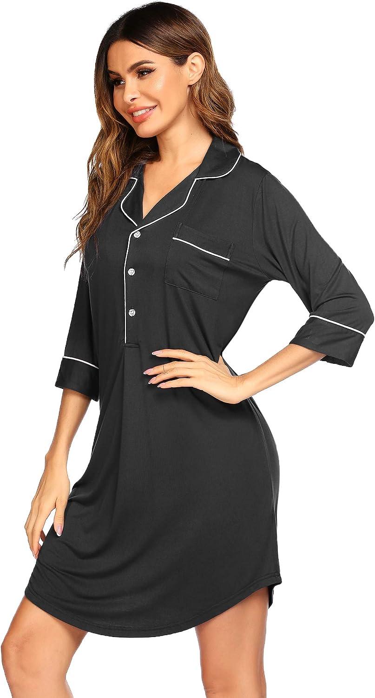 SHESHOW Button Down Nightgowns for Women 3/4 Sleeve Night Shirts Soft Sleepwear Comfy Pajama Dress