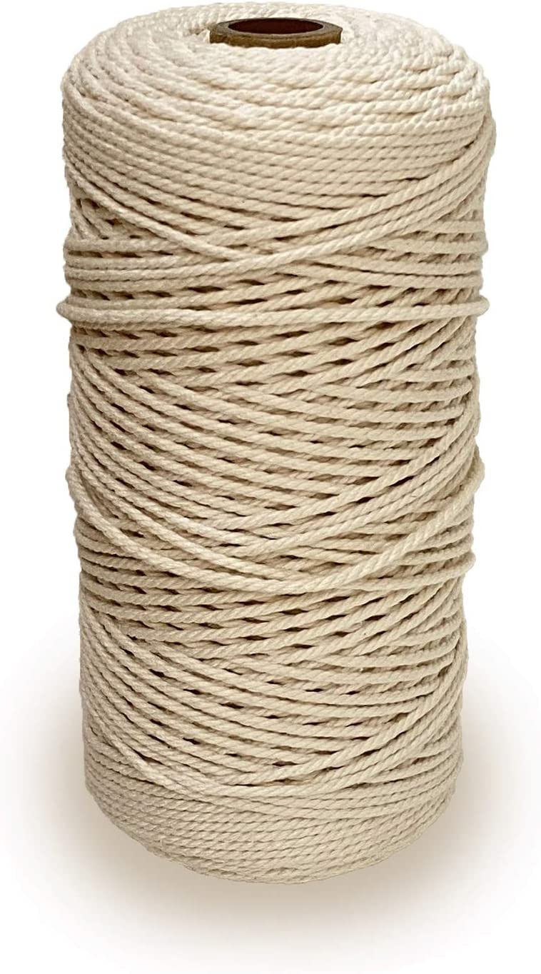 Knitting Beige. HNXAZG Macrame Cotton Cord 2 mm X 218 Yards Natural Cotton Rope 4 Strand Twisted Craft Cord for Handmade Wall Hanging,Plant Hangers Gift Wrapping