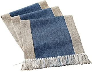 HomeyHo Cotton Linen Blend Rustic Dining Table Runner with Fringe Long Table Runner for Rectangle Heat Resistant Long Table Runner for Kitchen Table Rustic Style, 15 x 86.5 Inch, Blue