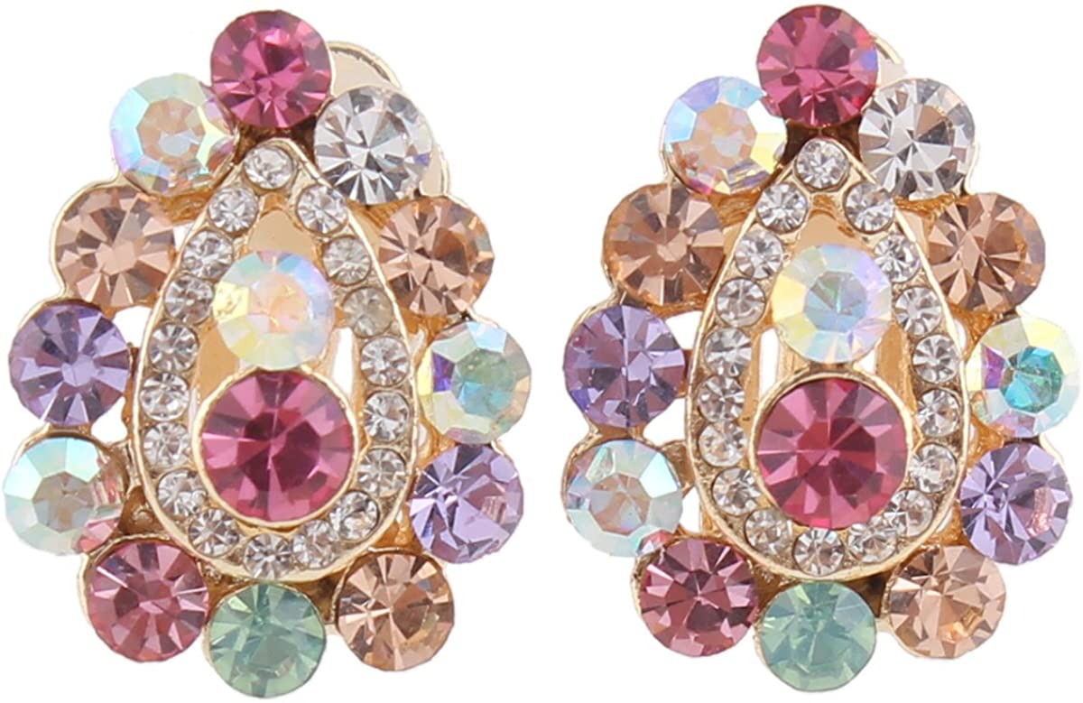Grace Jun Bridal Multicolor Rhinestone Crystal Gold Plated Clip On Earrings Without Piercing for Women