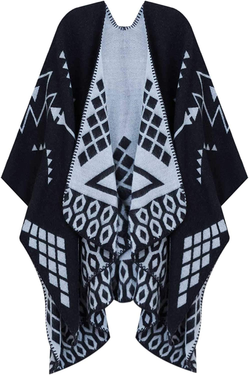 Women's Color Block Shawl Wrap Open Front Poncho Cape Plaid Poncho Wrap Oversize Cardigan Sweater for Women Ladies