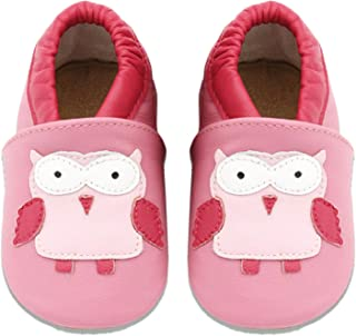 MARITONY Baby Girls Boys Leather Walking Shoes Toddler Moccasins Soft Sole Slippers Infant Newborn First Walker Shoes Cute Animal Cribs Shoes
