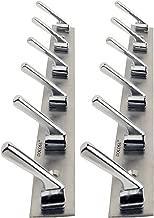 Docoss Pack Of 2-Deluxe 6 Pin Bathroom Cloth Hanger Robe Wall Door Hooks Rail
