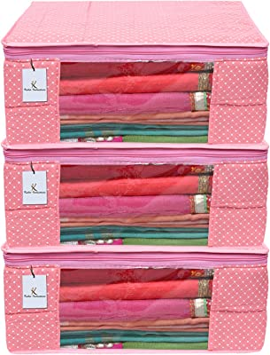 Kuber Industries Polka Dots 3 Piece Cotton 3 Layered Quilted Saree Cover, Peach-CTKTC21331