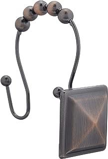 AmazonBasics Shower Curtain Hooks - Peaked Square, Oil-Rubbed Bronze