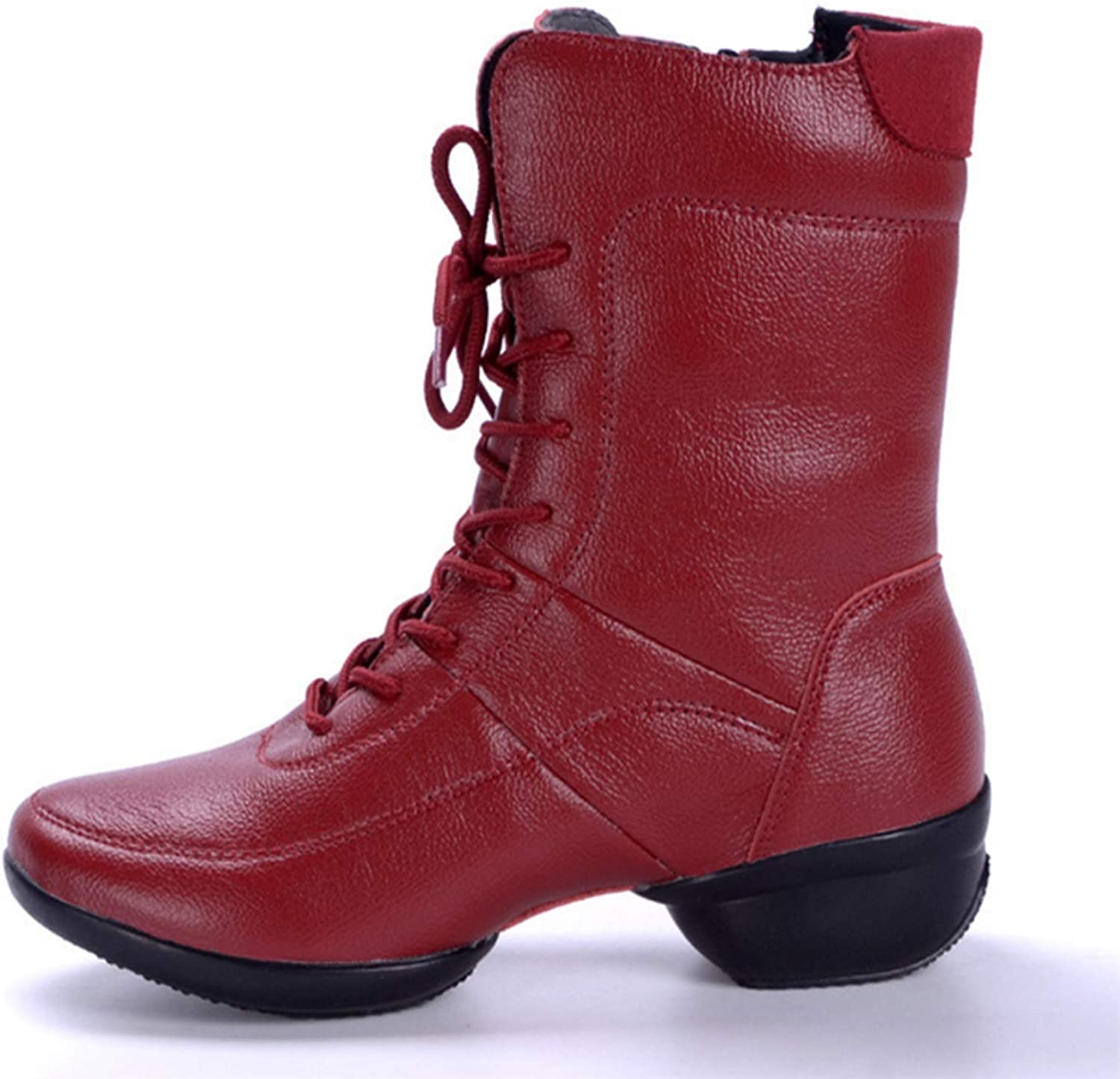 Dig dog bone Women's High Top Dance Boots with Fleece Lining Side Zipper Genuine Leather Soft Outsoles
