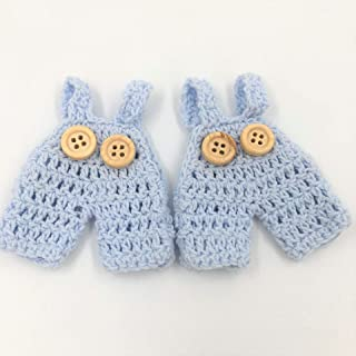 10Pcs Mini Crochet Knitted Overall Jumper Favors Baby Shower Baptism Christening Party Favors (Blue)