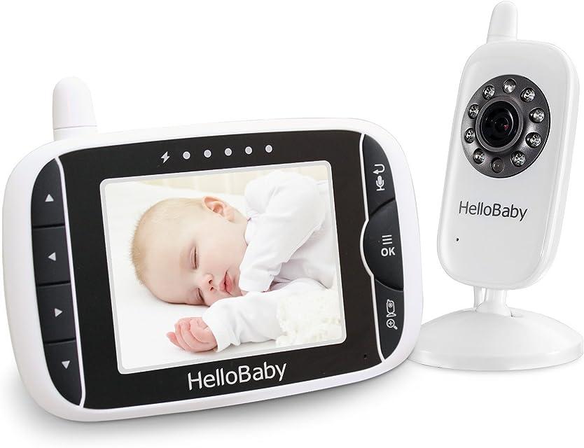 HelloBaby Monitor Video sin Hilos del Bebé de con la Cámara de Digitaces Supervisión de la Temperatura de la Visión Nocturna y Sistema de la Manera 2 Talkback (HB32)