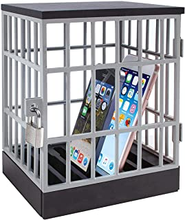 Solotree Phone Jail, Cell Phone Lock Up Cage Prison, Cell Phone Holder Stand for Home Table Office Desk Gadget Included Padlock & Keys- Fun Novelty Gifts