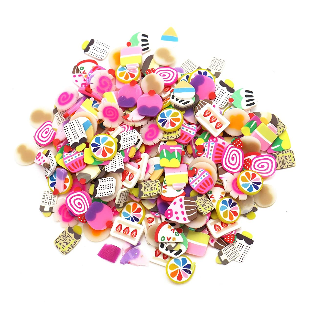 Monrocco 400 Pcs Assorted Fruits Cake Sweets Flatback Resin Cabochons Slime Charms Cute Set for Craft Making
