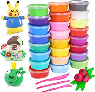 ESAND Air Dry Clay, 24 Colors Modeling Clay Magic Clay DIY Creative Modeling Dough with Project Booklet, No-Sticky and Non-Toxic