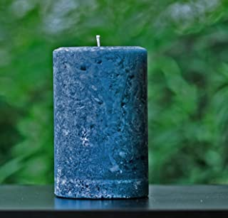 Rustic Textured Navy Unscented Pillar Candle - Choose Size - Handmade