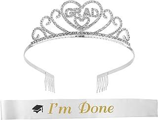 PRETYZOOM 2 pezzi corona e fascia in strass da principessa Tiara Headwear, fascia per spalle in raso, 2021, per studenti, ...