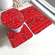 Red Bandana Bathroom Rugs and Mats Sets Bathroom Rugs Sets 3 Piece Bath Rugs for Bathroom Washable U-Shaped Contour Rug, M...
