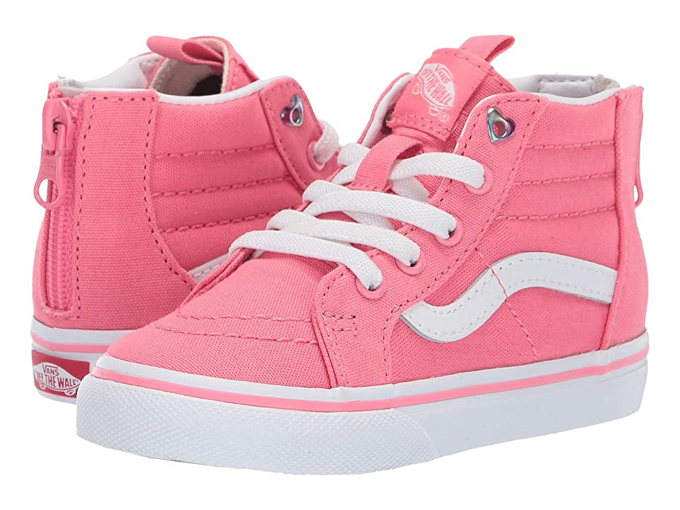 Vans Kids Sk8-Hi Zip (Toddler) ((Heart Eyelet) Strawberry Pink/True White) Girls Shoes