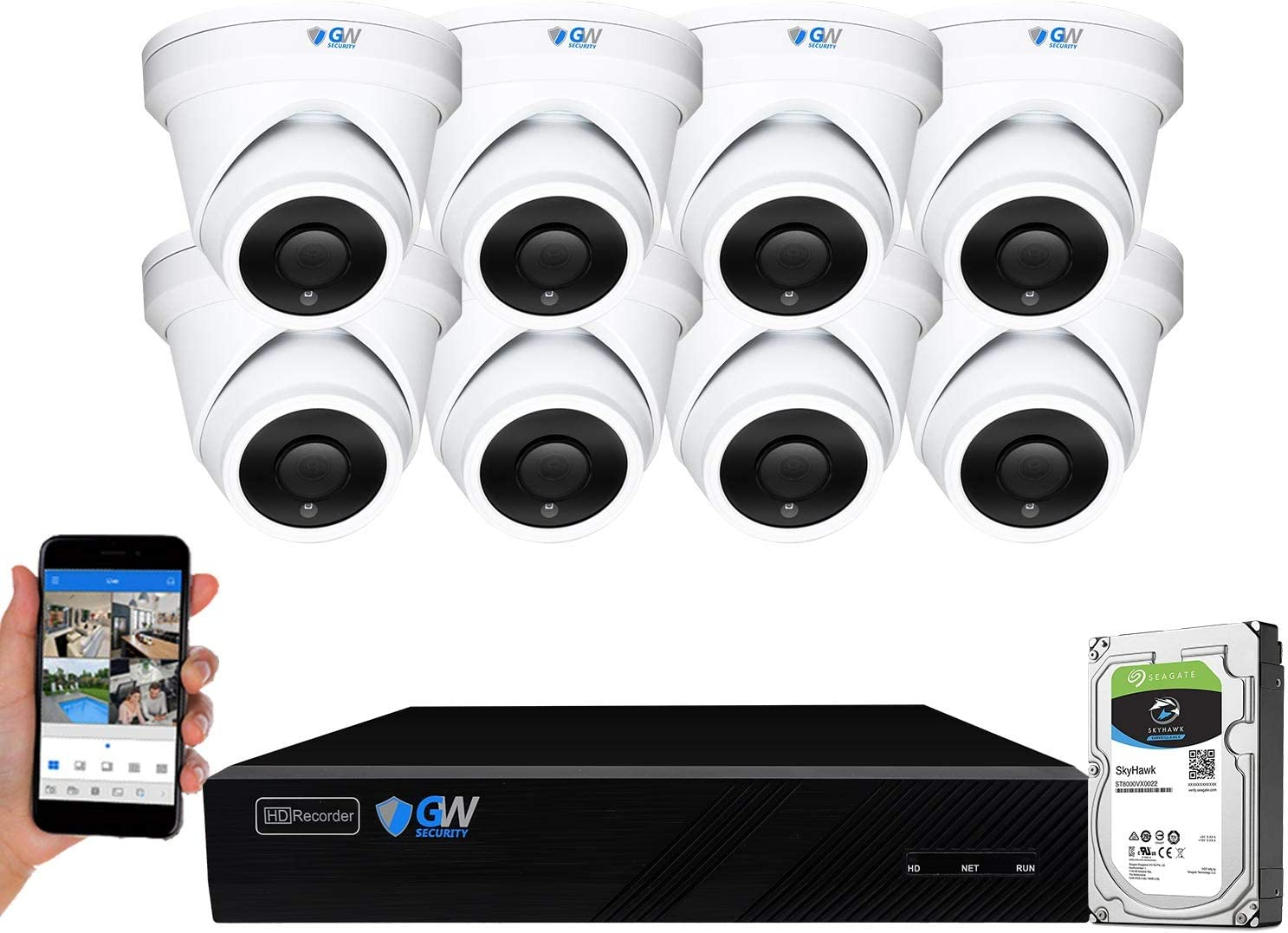 GW Security 8 Channel 4K NVR 6MP H.265 AI Human Detection Surveillance Security Camera System with 8 Super HD 6MP IP PoE Microphone Dome Security Cameras