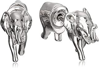 Rhodium Plated 925 Sterling Silver Elephant Front-Back Stud Earrings