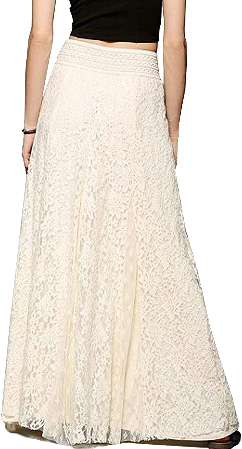 TONCHENGSD Women's Fashion High Elastic Waist A-Line Floral Lace Maxi Long Skirts