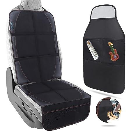 RolliBot チャイルドシートカバー キックガード 2点セット 滑り止め 収納ポケット付き 車座席保護シート