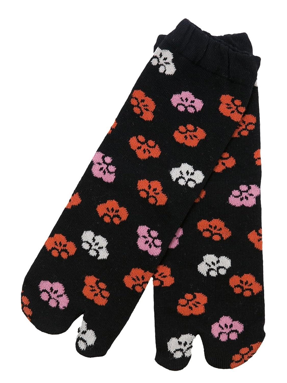 【京都くろちく】 New 文化足袋(黒梅) 和柄足袋靴下