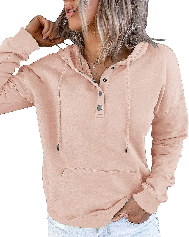Women long sleeve pullover hoodie Casual Botton Solid Lightweight Loose Tops Sweatshirt