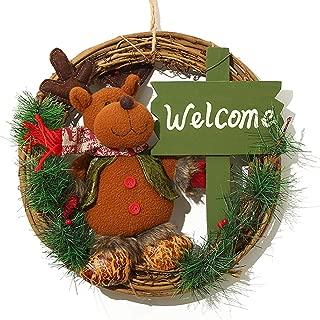 XONOR Christmas Wreath for Front Door - 14 inch/35cm Door Wreaths Christmas Home Door Hanger Wall Car Decoration (Reindeer)