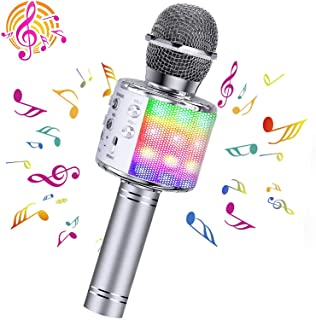 ShinePick Wireless Microphone, 4 in 1 Karaoke Bluetooth Microphone, Dancing LED Lights Portable Speaker Karaoke Machine, Home KTV with Record Function, Compatible with Android iOS Devices(Argenteous)
