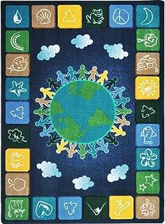 Joy Carpets Kid Essentials Geography & Environment One World Rug, Neutrals, 5'4