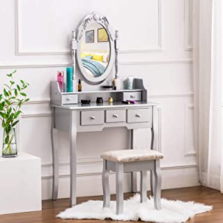 HONBAY Vanity Set with Drawers Wood Dressing Table with Mirror Vanity Makeup Table with Stool, Silver
