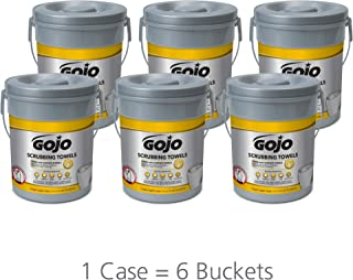 GOJO Hand and Surface Scrubbing Towels - Fresh Citrus Scent, 72 Count Heavy Duty Scrubbing Towels Canister (Case of 6) - 6396-06
