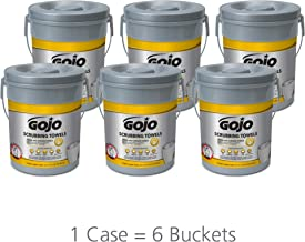 GOJO Hand and Surface Scrubbing Towels, Fresh Citrus Scent, 72 Count Heavy Duty Scrubbing Towels Canister (Pack of 6) - 6396-06