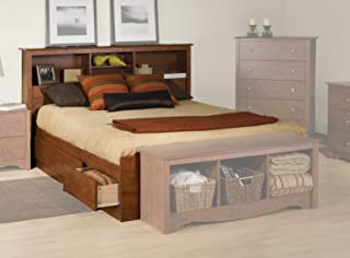 Prepac Monterey Queen Bookcase Platform Storage Bed in Cherry