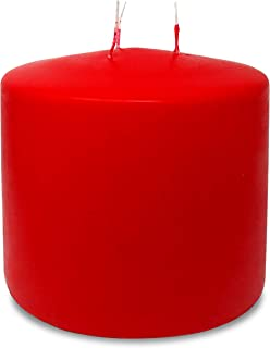 HYOOLA Red Three Wick Large Candle - 6 x 6 Inch - Unscented Big Pillar Candles - 146 hour - European Made