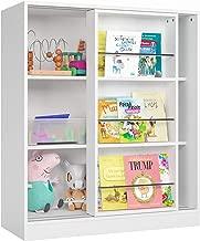 Homfa Kids Bookcase 3 Tier, Toy Organizer Cabinet with Sliding Book Shelf, Free Standing Display Storage Shelves Kid's Room Furniture, White