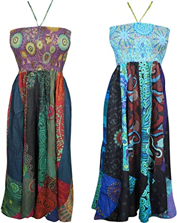 c27a70cb39948 Mogul Interior 2pc Womens Dress Halter Neck Printed Sexy Summer Sundress  Dresse XS Blue,Green