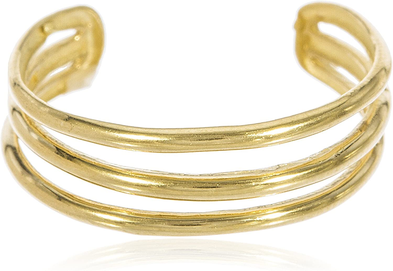 JOTW 14k Yellow Gold Three Wire Toe Ring (GO-1024)