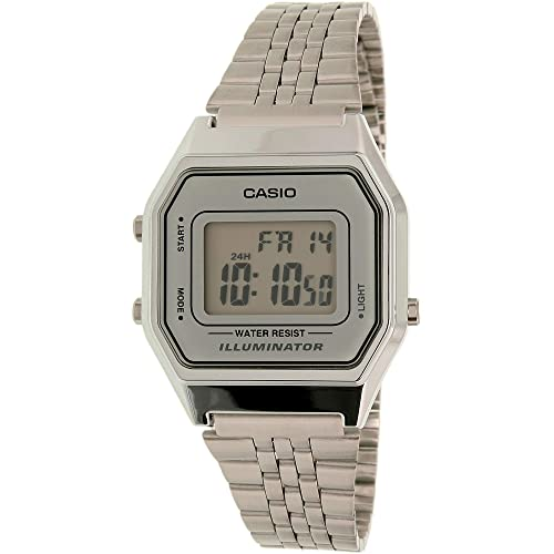 941bbce5265 Casio Ladies Mid-Size Silver Tone Digital Retro Watch LA-680WA-7DF