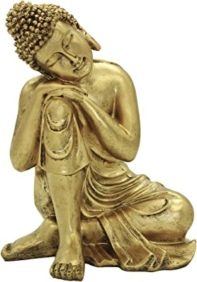 Amazon Com Resin 10 63 H Napping Indian Buddha Statue Gold Home Decor Housewarming Gift Bs107 Home Kitchen