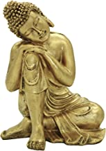 """Resin 10.63""""(H) Napping Indian Buddha Statue Gold Home Decor Housewarming Gift Bs107"""