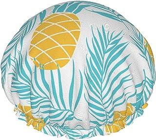 Dwuwarstwowa czapka prysznicowa, letnie przedmioty podróżne na niebieskim tle, wodoodporne elastyczne czepki kąpielowe wie...