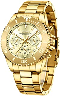 Mens Watches Chronograph Stainless Steel Waterproof Date Analog Quartz Watch Business Wrist...