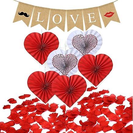 5ba7bc20f8f2 Jolily Día de San Valentín decoraciones de fiesta LOVE Banner, ventilador  de papel de forma